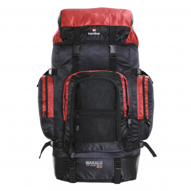 Karabar Makalu 80 Litres Travel Backpack, Black/Red