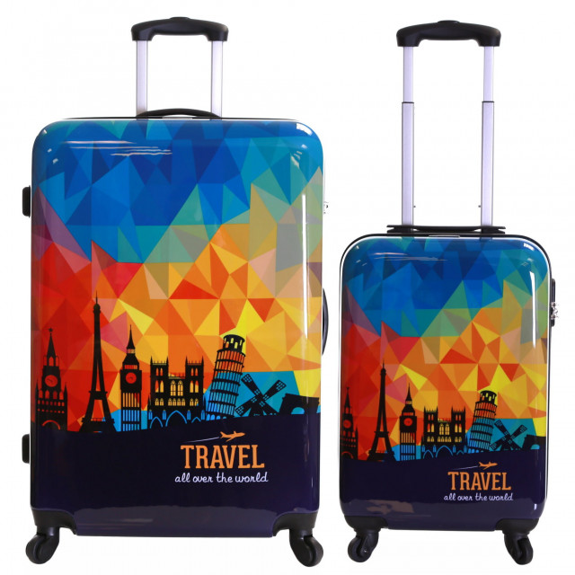 Karabar Falla Set of 2 Hard Suitcases, Sky Prism