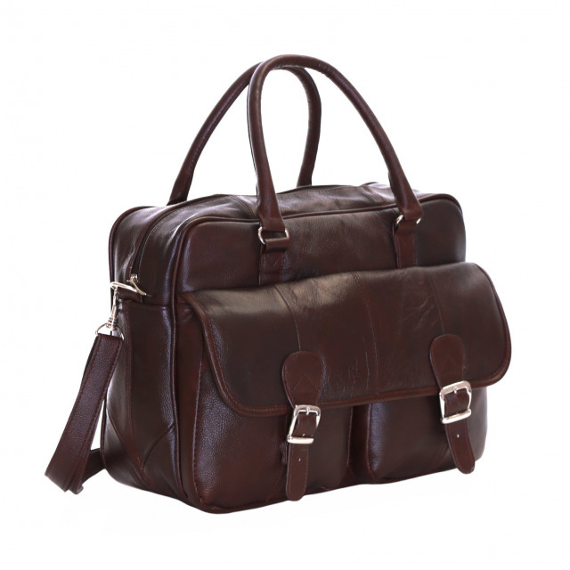 Slimbridge Essen Leather Briefcase, Brown