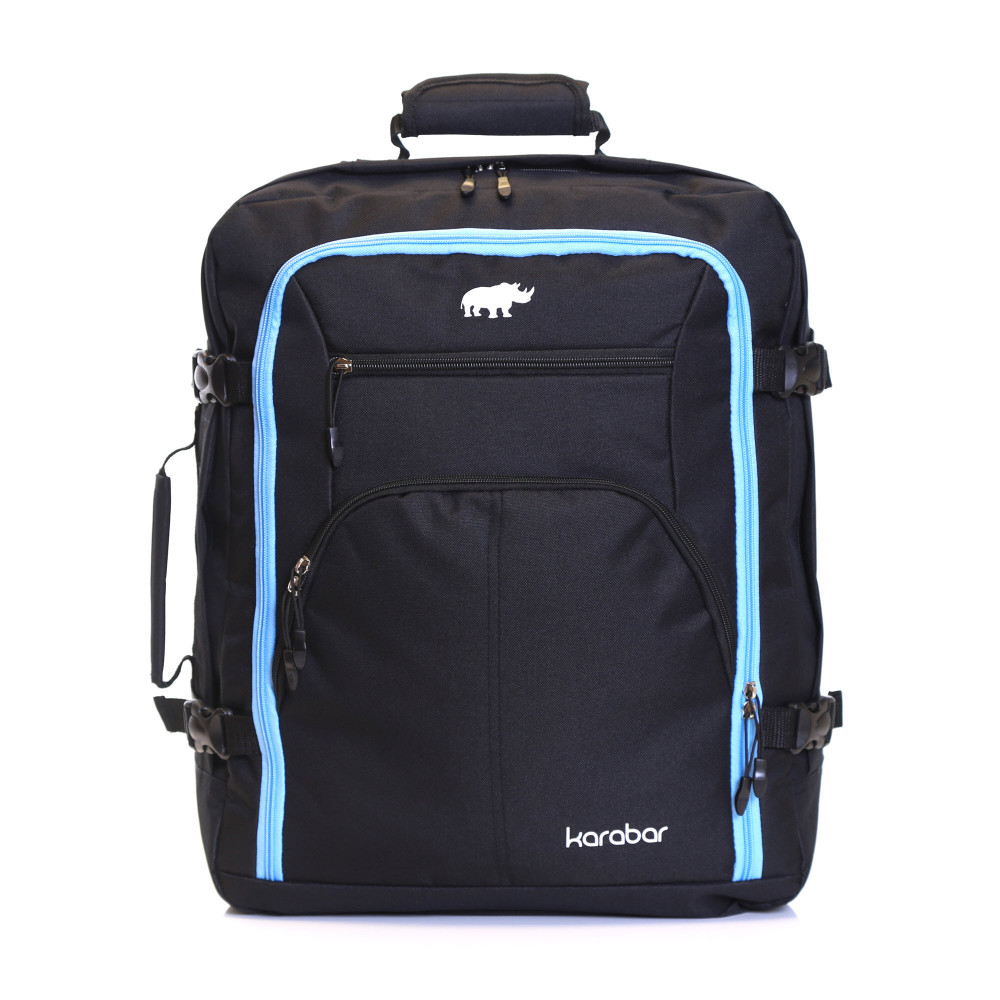Karabar Warner Cabin Approved Backpack, Black/Sky Blue