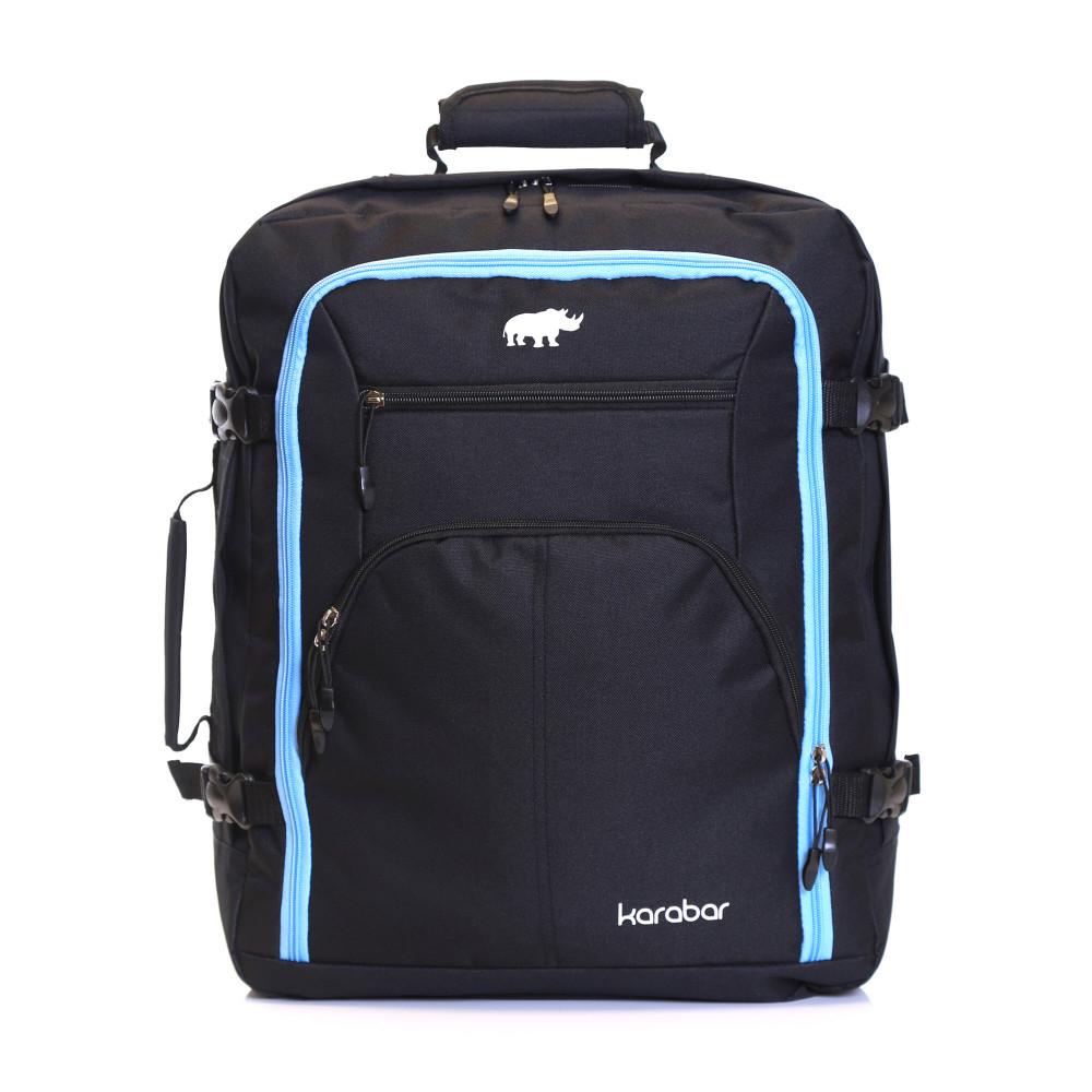 Karabar Warner Cabin Approved Backpack, Black/Sky Blue