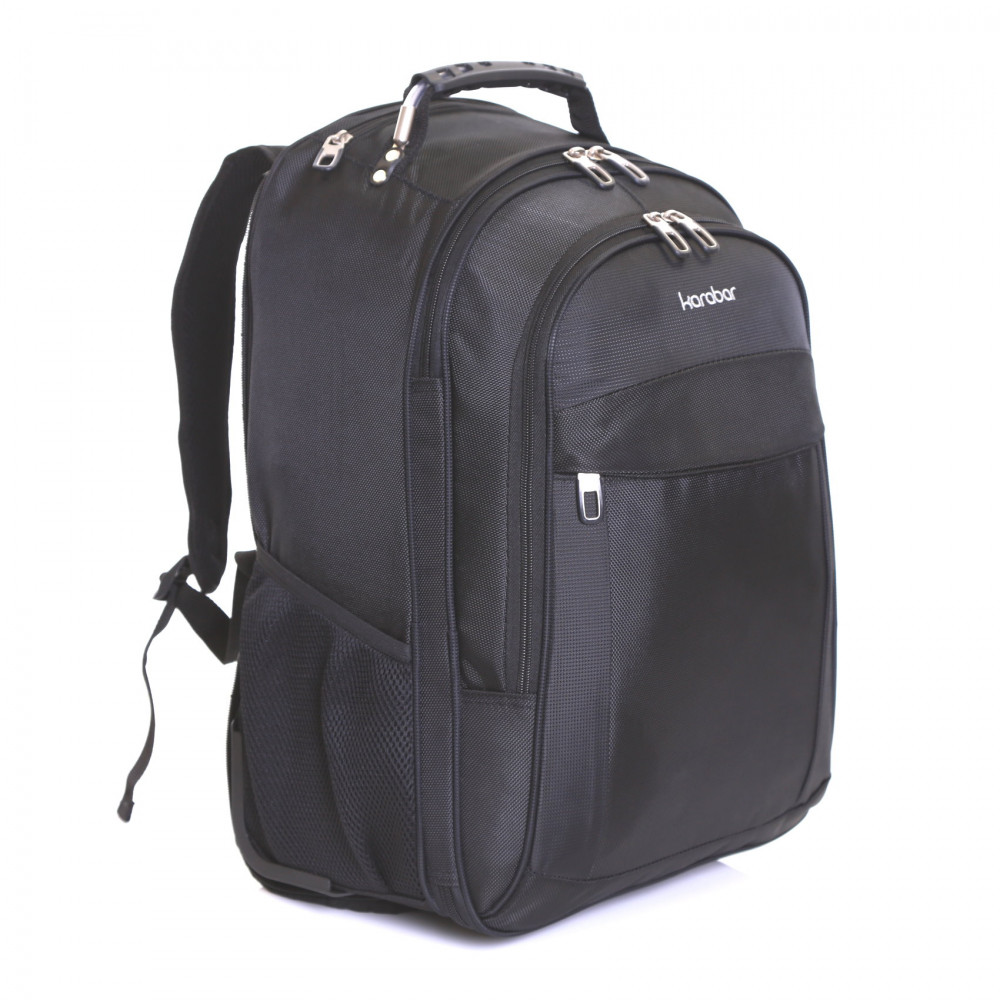 Karabar Aragon Wheeled Laptop Backpack, Black Front