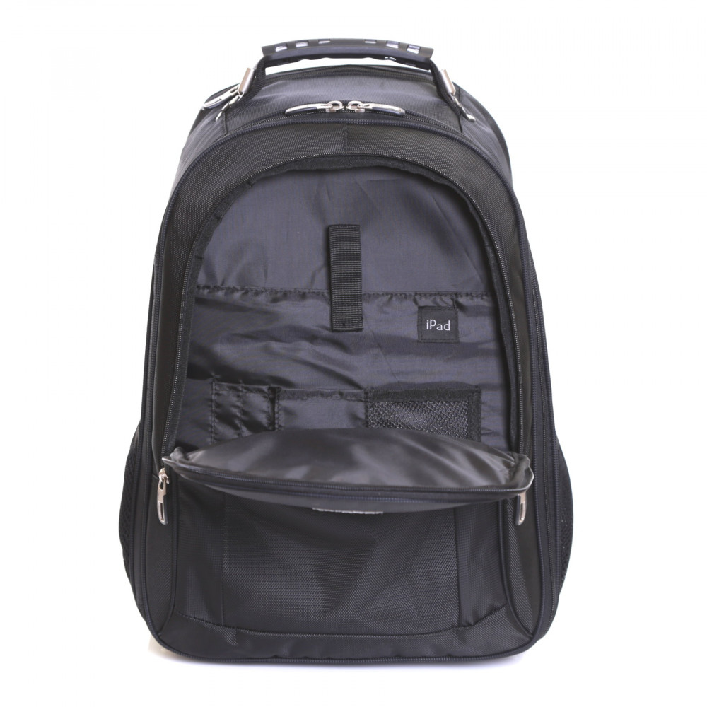 Karabar Aragon Wheeled Laptop Backpack, Black Front Pocket