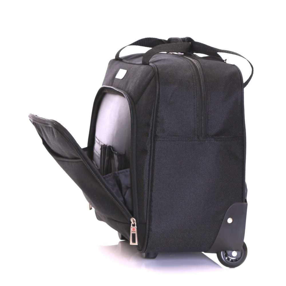 Karabar Brigg Wheeled Laptop Case, Black Front Pocket
