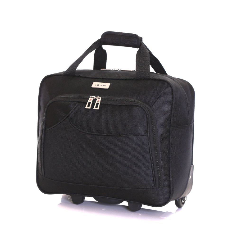 Karabar Brigg Wheeled Laptop Case, Black No Handle