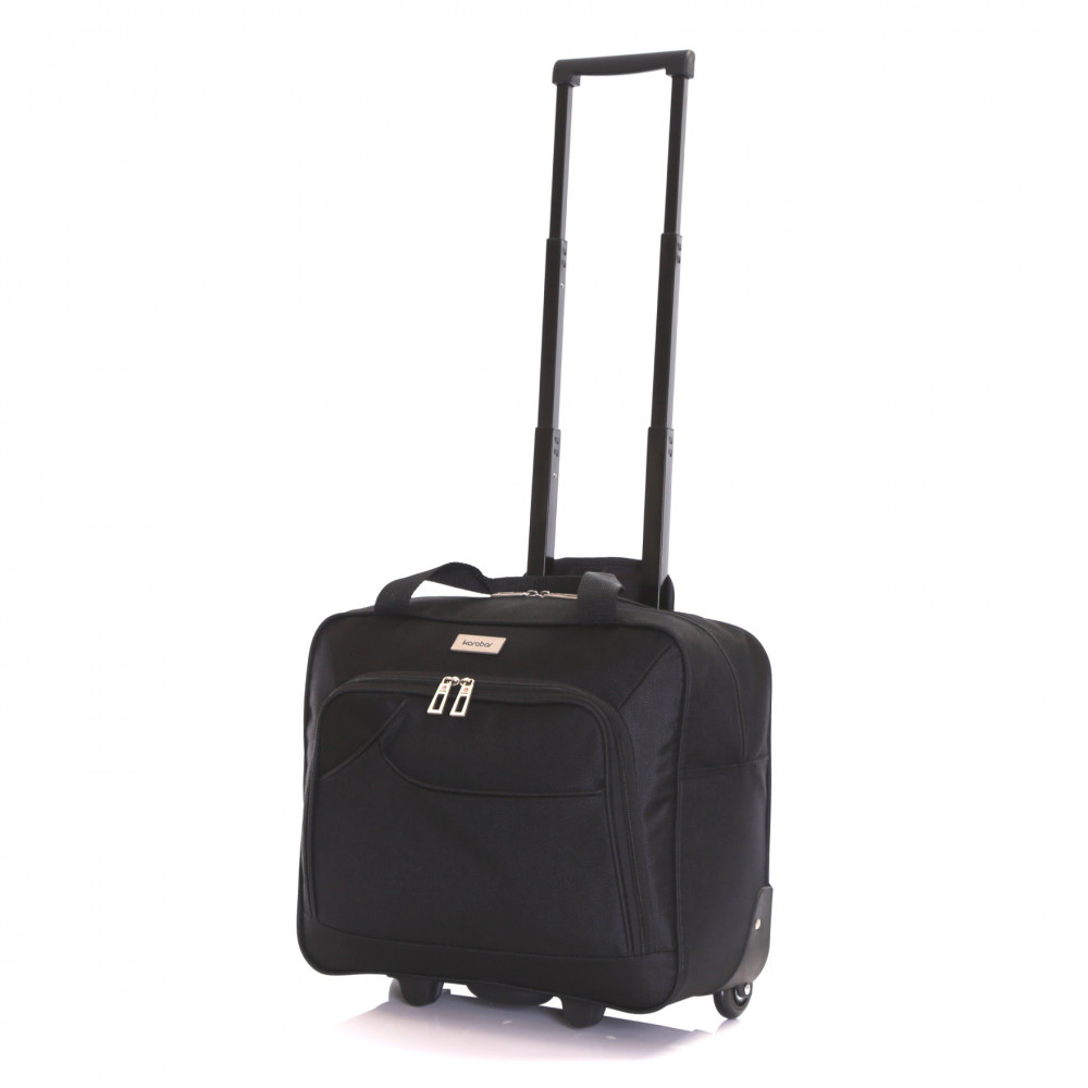 Karabar Brigg Wheeled Laptop Case, Black Full Handle