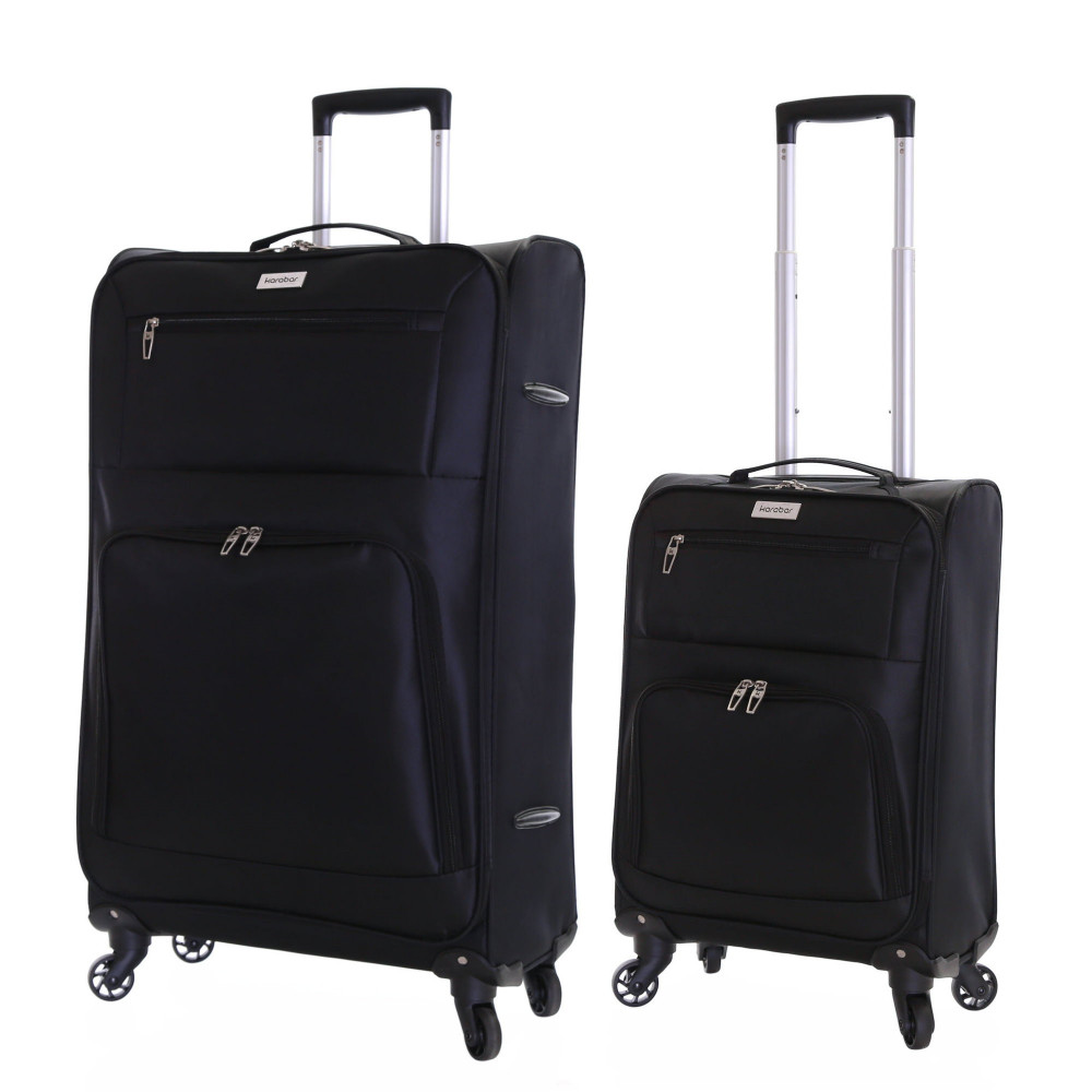 Karabar Lecce Set of 2 Lightweight Suitcases, Black