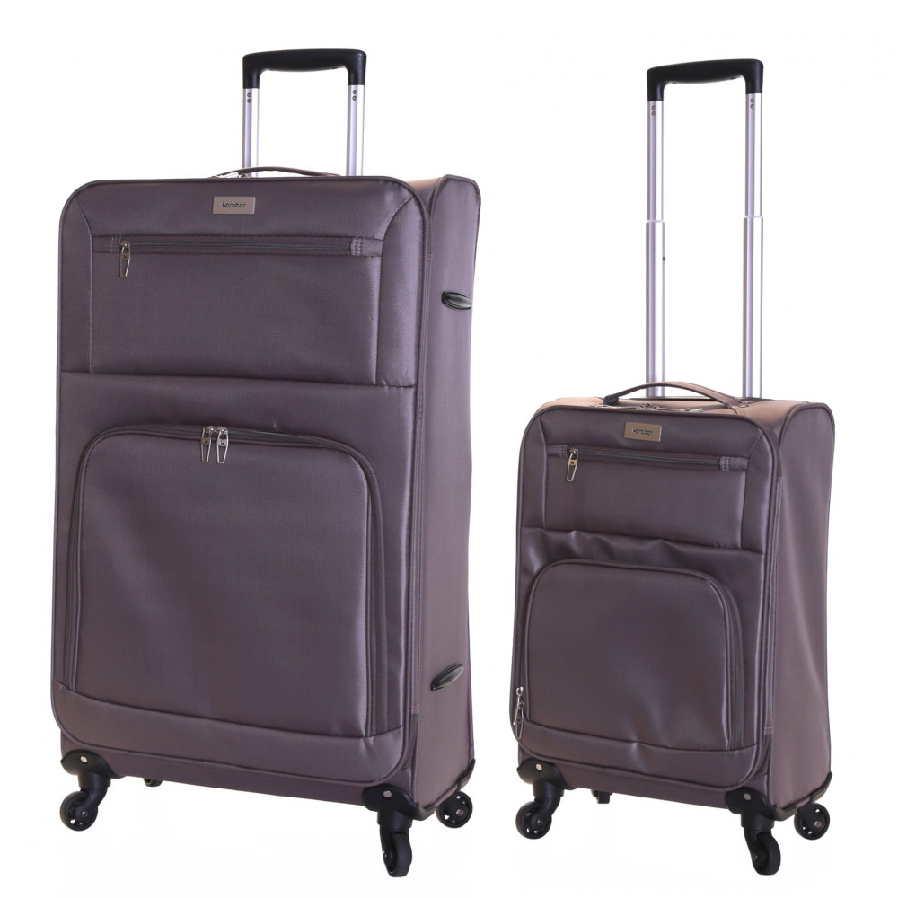 Karabar Lecce Set of 2 Lightweight Suitcases, Taupe