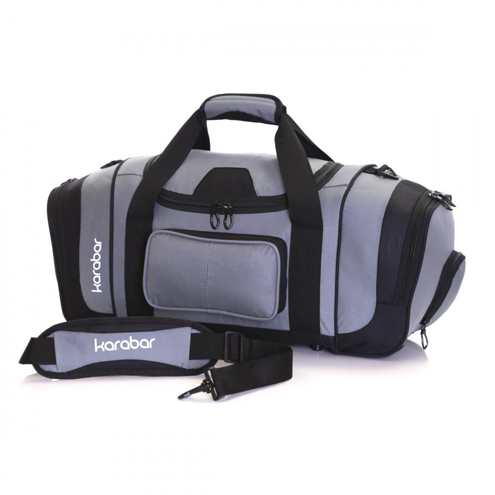 Karabar Lomond Sports/Gym Bag, Black/Grey Shoulder Strap