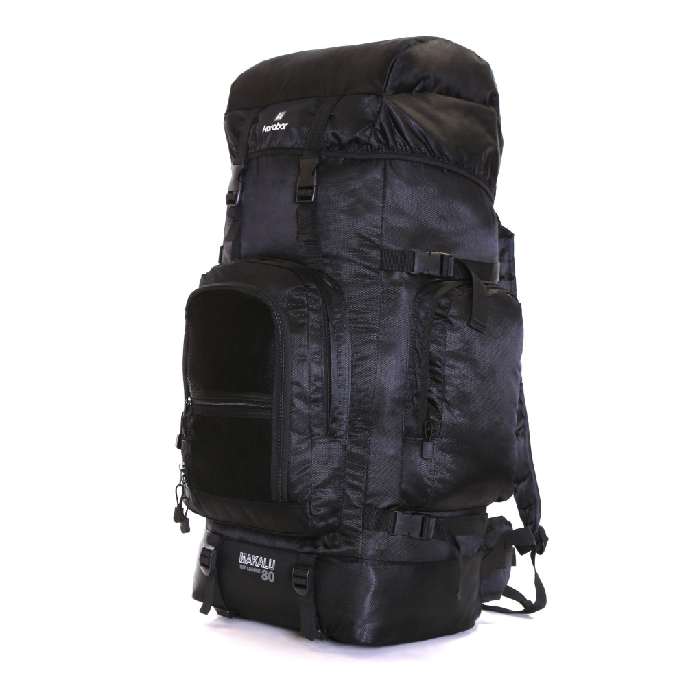 Karabar Makalu 80 Litres Travel Backpack, Black Side 1