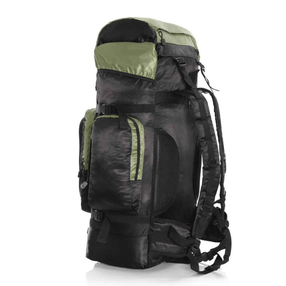 Karabar Makalu 80 Litres Travel Backpack, Black/Khaki 2
