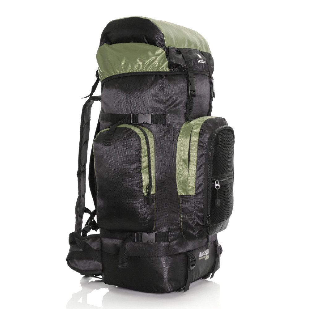 Karabar Makalu 80 Litres Travel Backpack, Black/Khaki 3