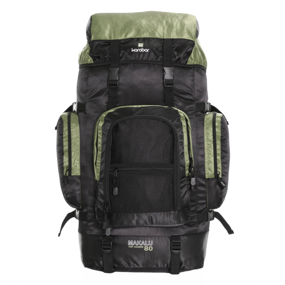 Karabar Makalu 80 Litres Travel Backpack, Black/Khaki