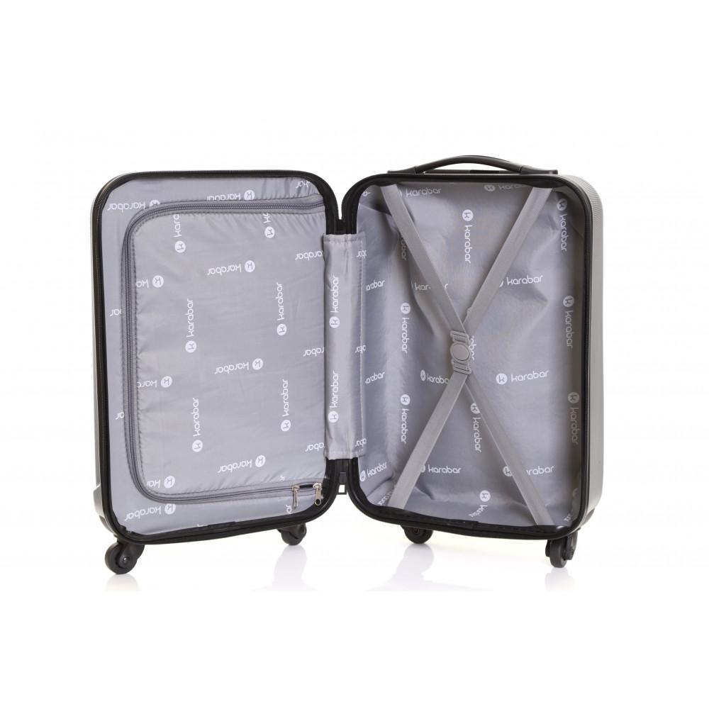 Karabar Monaco Cabin Hard Suitcase, Black Inside
