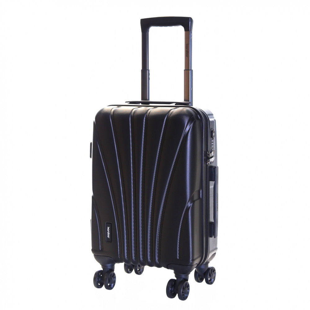 Karabar Seashell Cabin Approved Hard Suitcase, Black