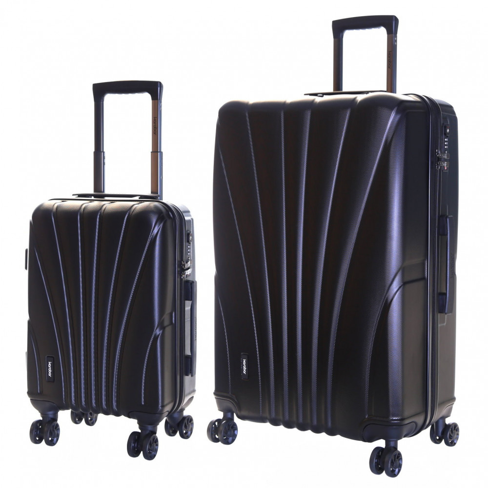 Karabar Seashell Set of 2 Hard Suitcases, Black