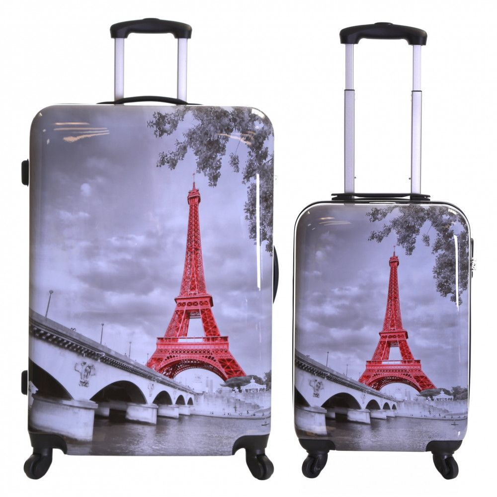 Karabar Falla Set of 2 Hard Suitcases, Eiffel Tower