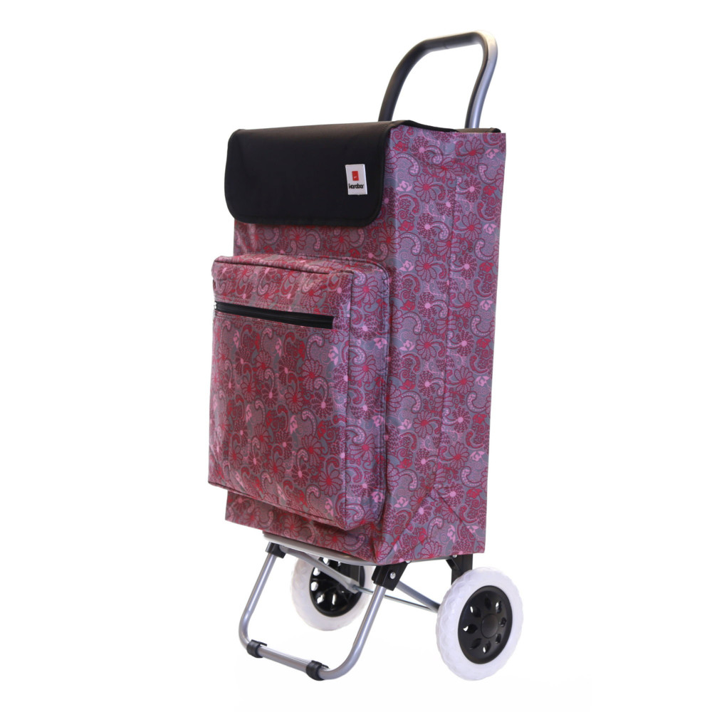 Karabar Moss Large Capacity Shopping Trolley, Pink/Grey