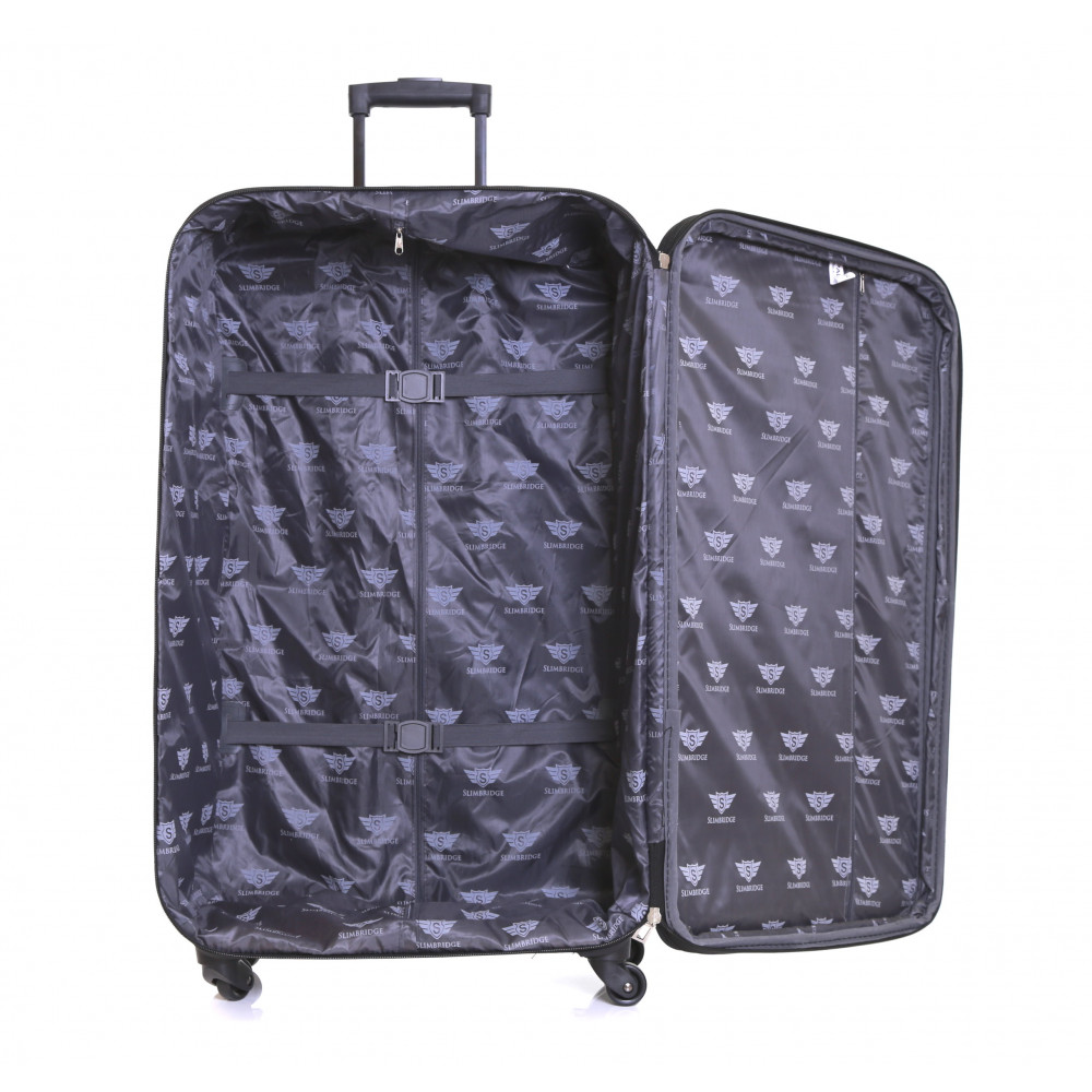 Slimbridge Andalucia Set of 2 Expandable Suitcases, Black Large Inside