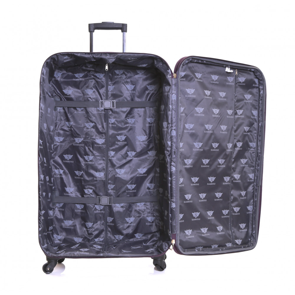 Slimbridge Andalucia Set of 2 Expandable Suitcases, Plum Large Inside