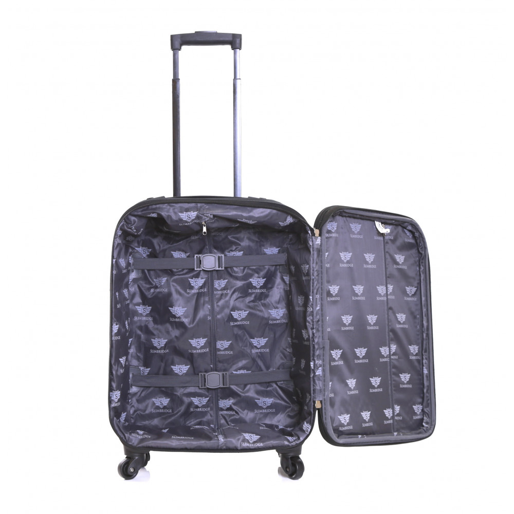 Slimbridge Andalucia Set of 2 Expandable Suitcases, Black Carry-On Inside
