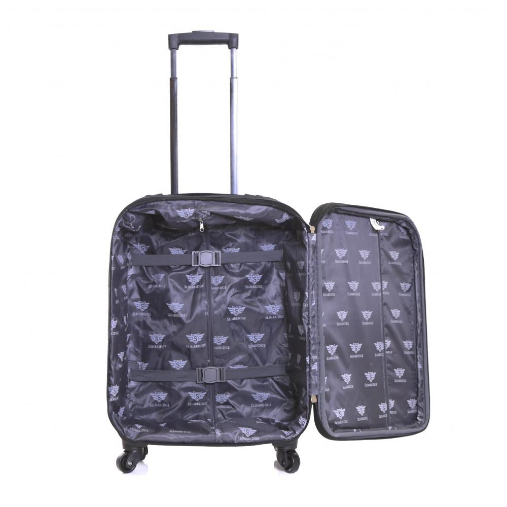 Slimbridge Andalucia Expandable Cabin Suitcase, Black Inside