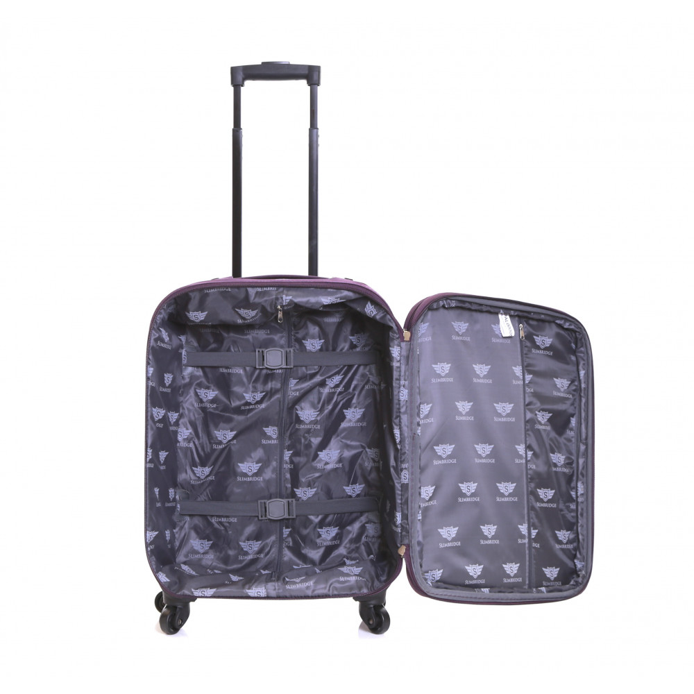 Slimbridge Andalucia Set of 2 Expandable Suitcases, Plum Carry-On Inside