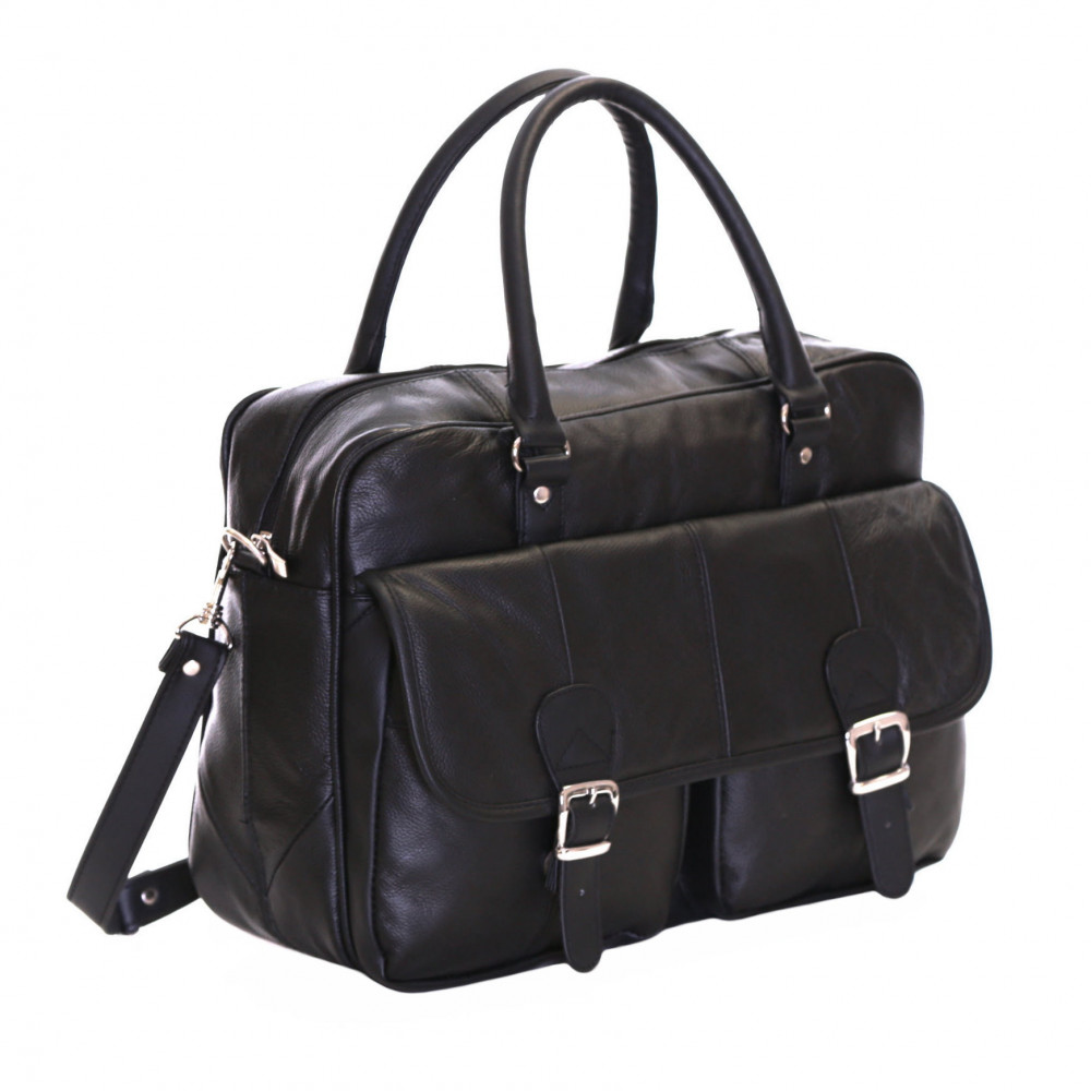 Slimbridge Essen Leather Briefcase, Black