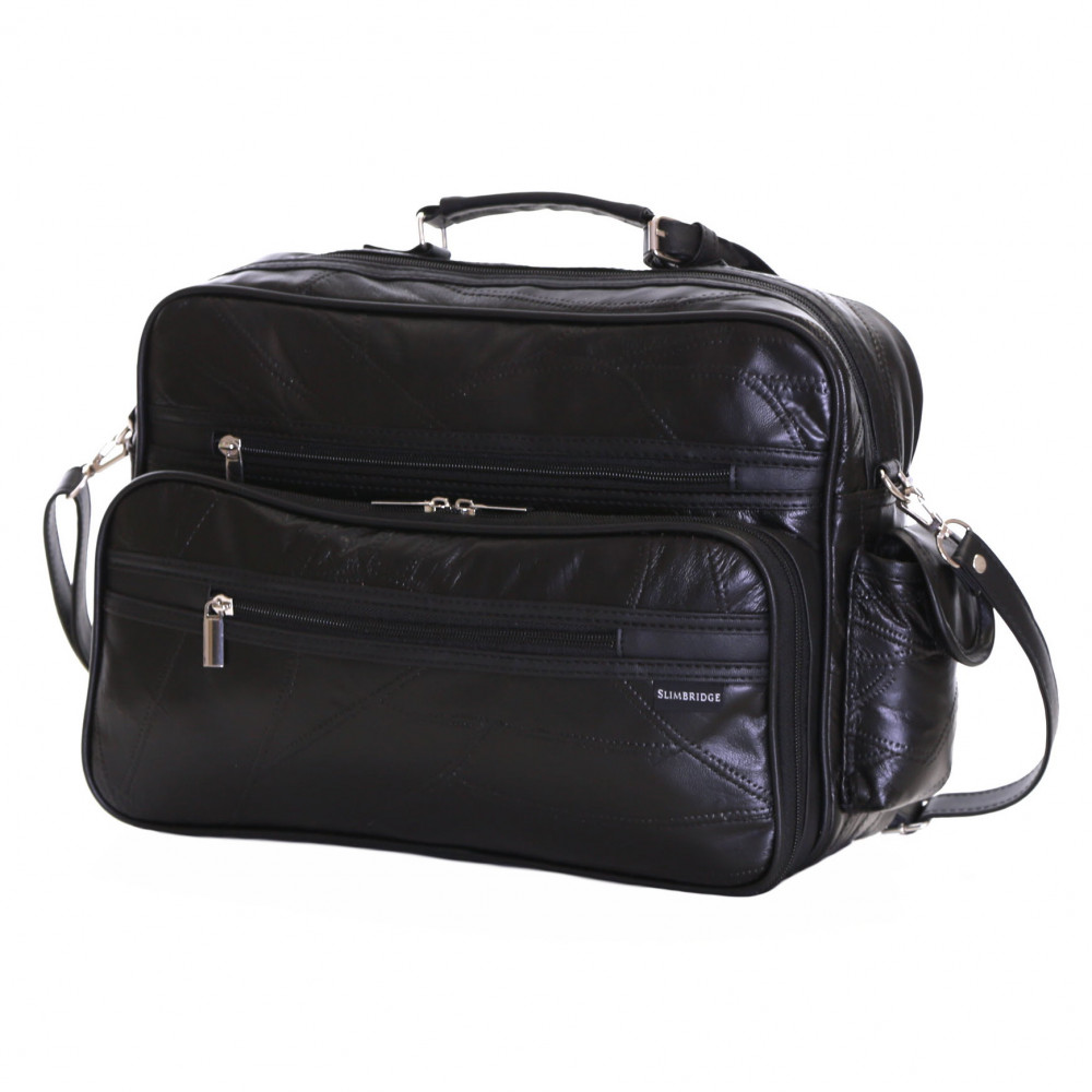 Slimbridge Kamen Leather Travel Bag, Black