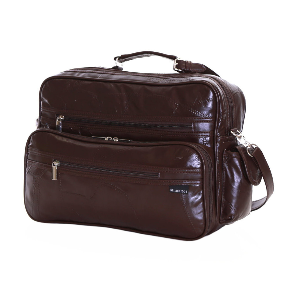Slimbridge Kamen Leather Travel Bag, Brown