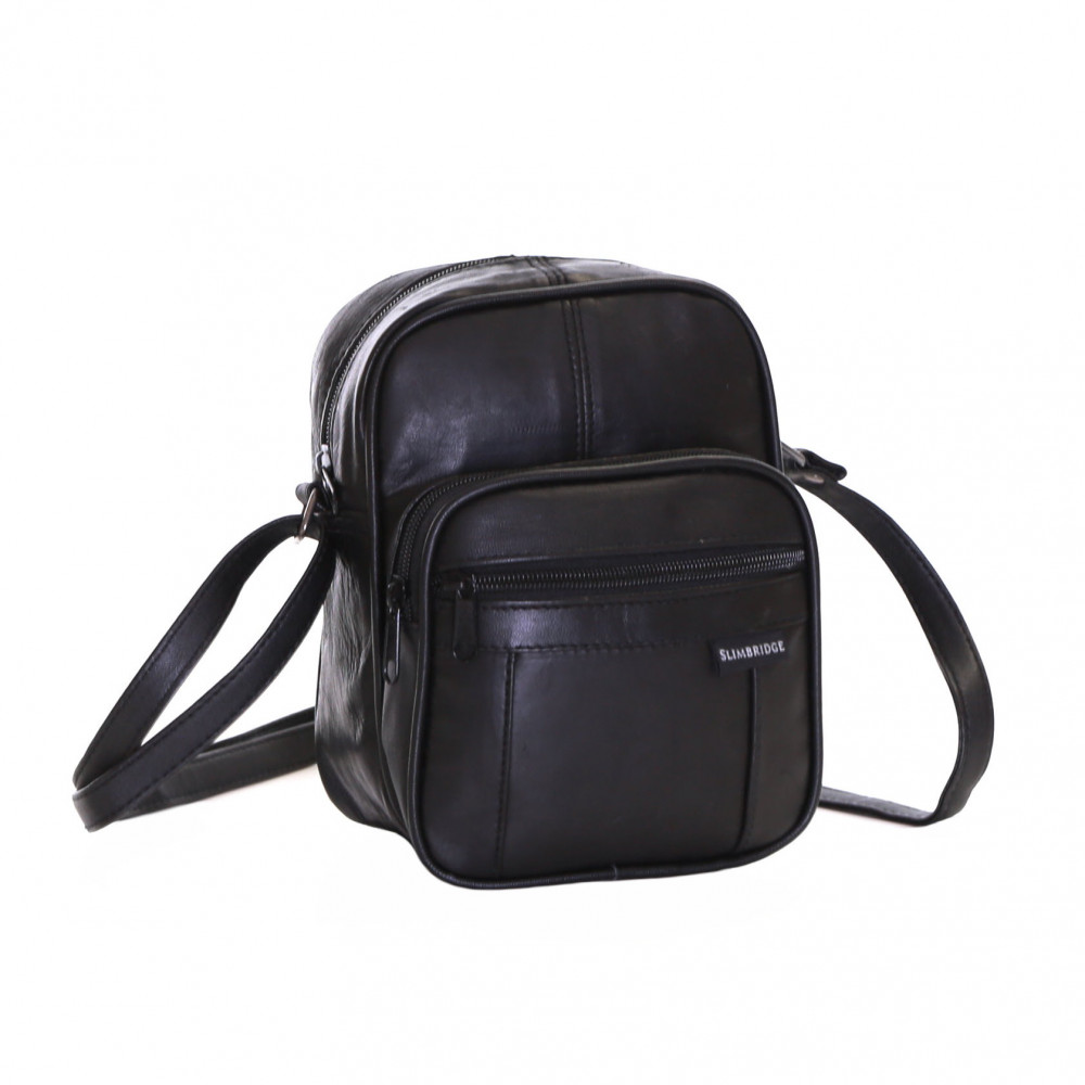 Slimbridge Mengen Small Leather Travel Bag, Black