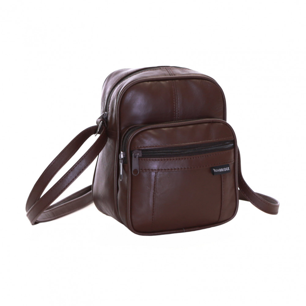 Slimbridge Mengen Small Leather Travel Bag, Brown
