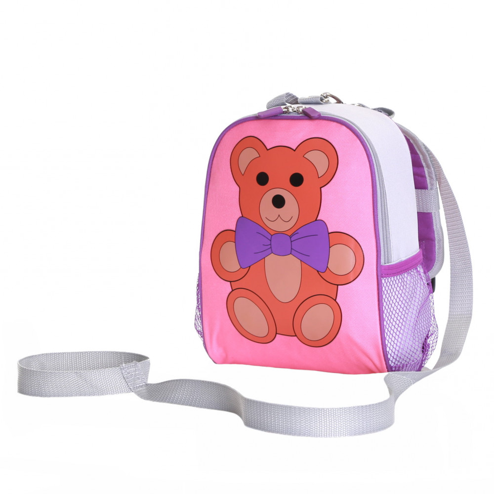 Wobbly Forest Teddy Toddler Backpack With Safety Rein, Pink/Purple